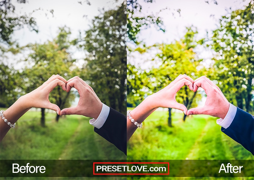 A bright and vivid photo of a couple's hands forming the shape of a heart