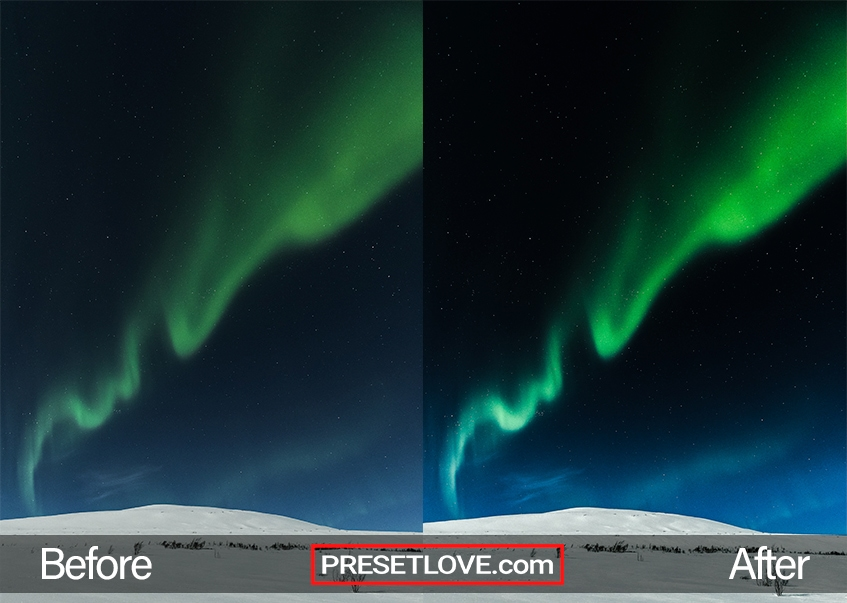 A vibrant streak of the Aurora in the night sky