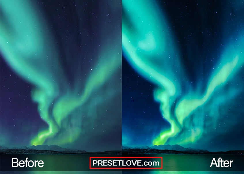 A vibrant display of the the Aurora in green and blue
