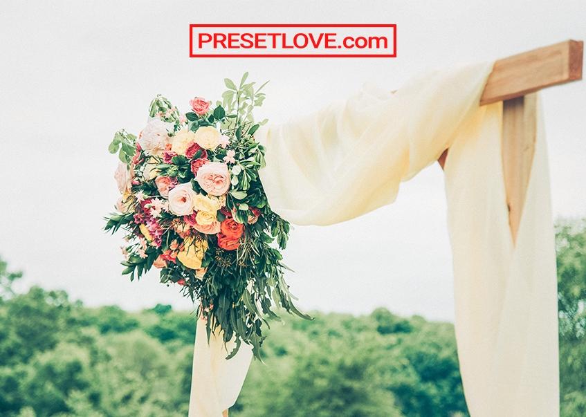 A brightened elegant photo of a wedding bouquet