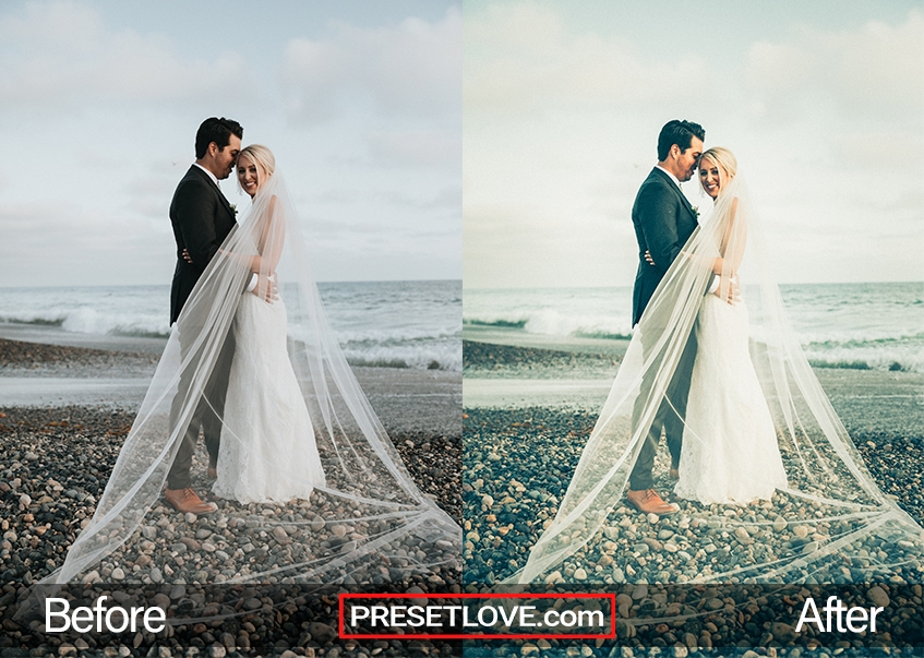 An elegant wedding photo of a couple by the shore