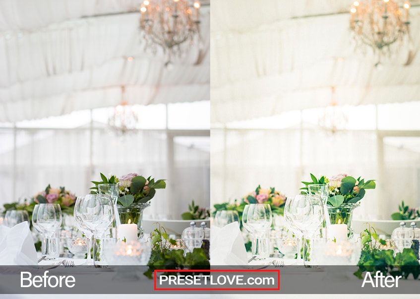 A warm wedding reception setup with a mostly white motif
