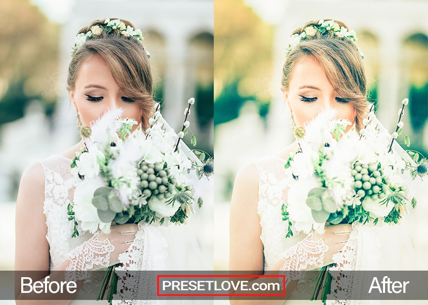 A warm and elegant wedding photo of a bride holding up the bouquet to her face
