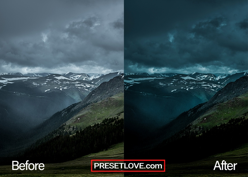 A dark and vivid photo of a mountain landscape