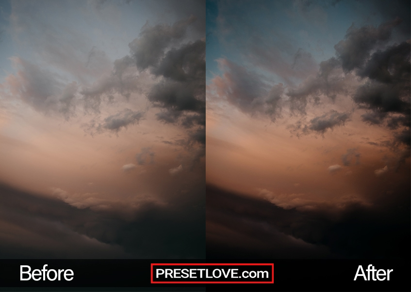 A dark and dramatic photo of a colorful sky with orange and aqua hues