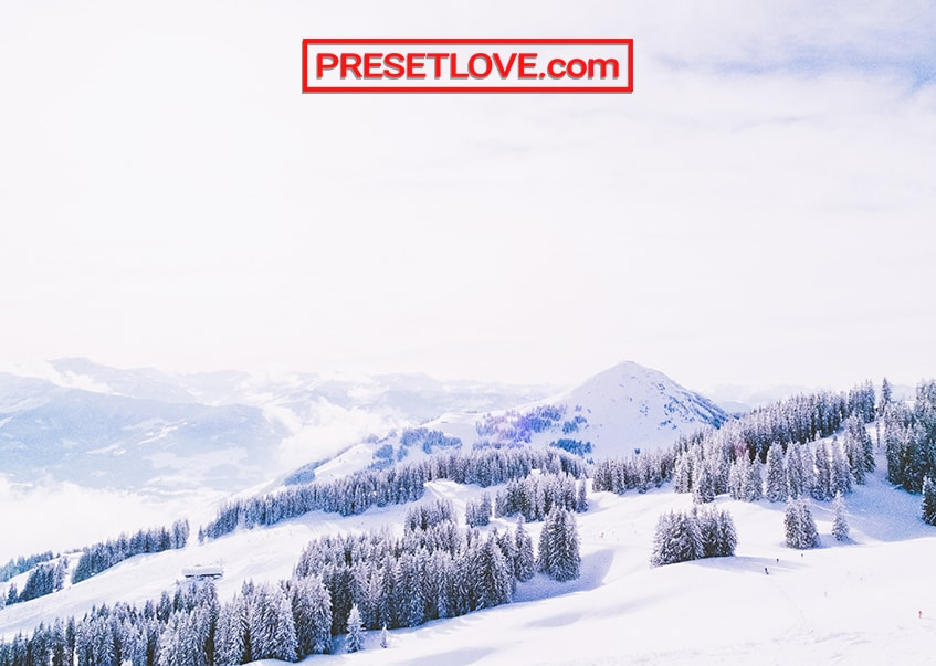 A bright photo of a landscape in winter