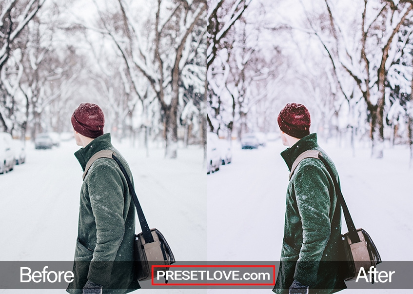 A man walking across a snowy field