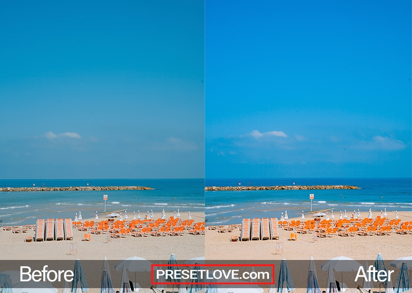 A vivid beach scene with vibrant orange chairs lining the beach