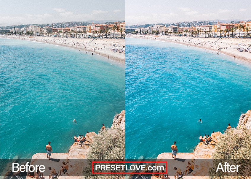 A high-angled beach photo with vivid blue seas