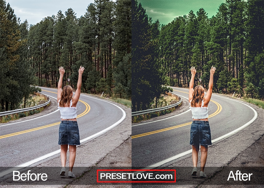 A cinematic photo of a woman raising hair hands while standing by the road
