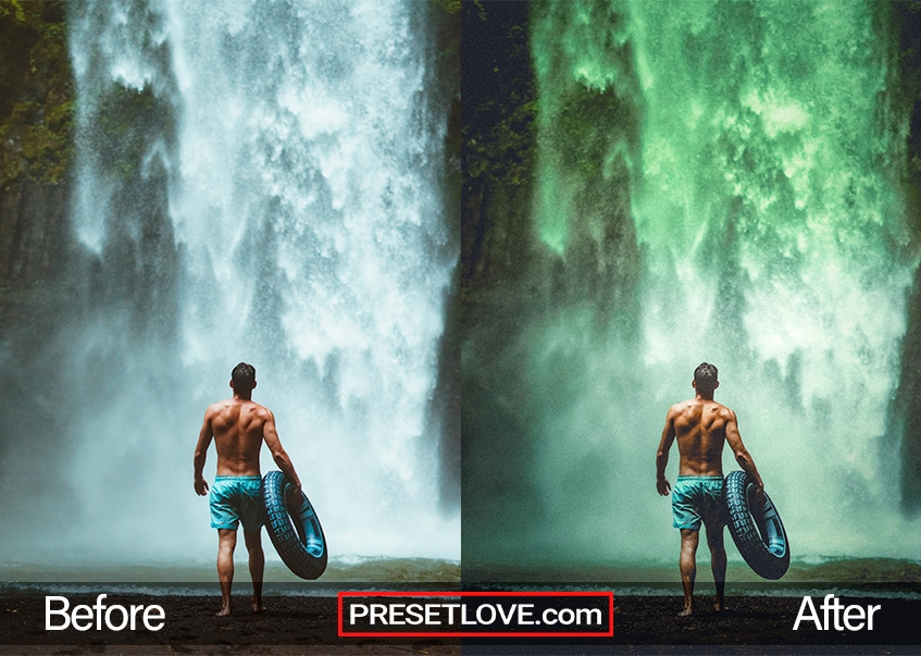 A dark green photo of a man standing in front of a waterfall