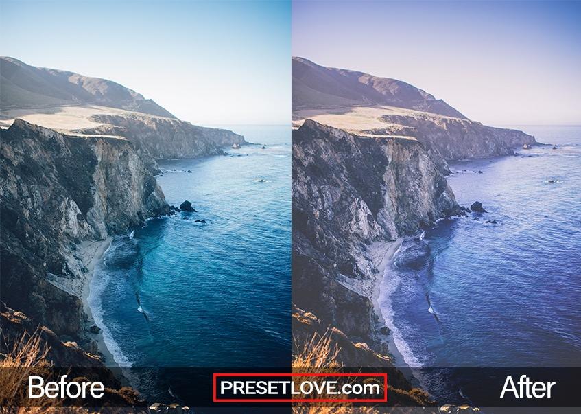 A vintage blue photo of a coast