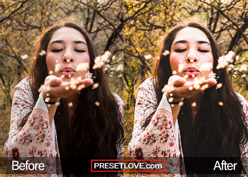 A sharp and clear outdoor portrait of a woman blowing flower petals to the camera