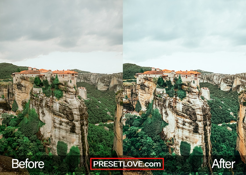 A Before and After example of an sharp and vivid landscape preset