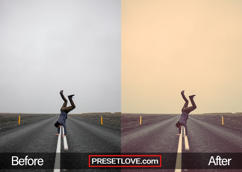A warm retro preset of a man doing a headstand in the middle of the road