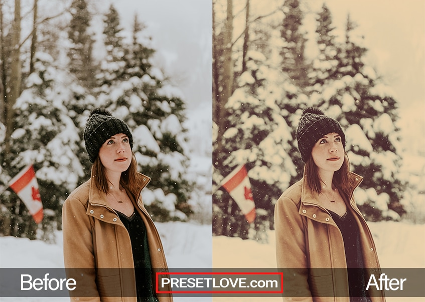A warm retro preset of a woman in winter clothes