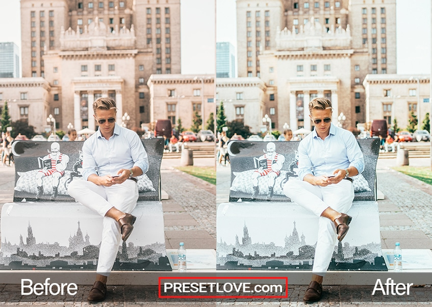 A cool film photo of a man setting on a bench in front of a majestic architecture