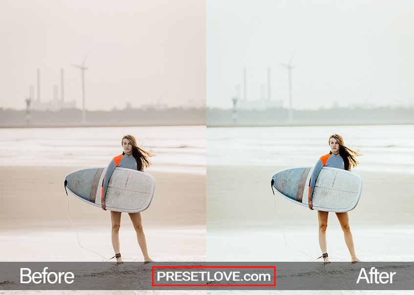 A cool film photo of a woman carrying her surfboard in the beach