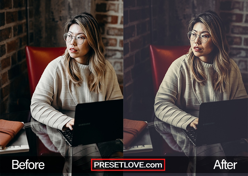 A cinematic photo of a woman with eyeglasses using her laptop