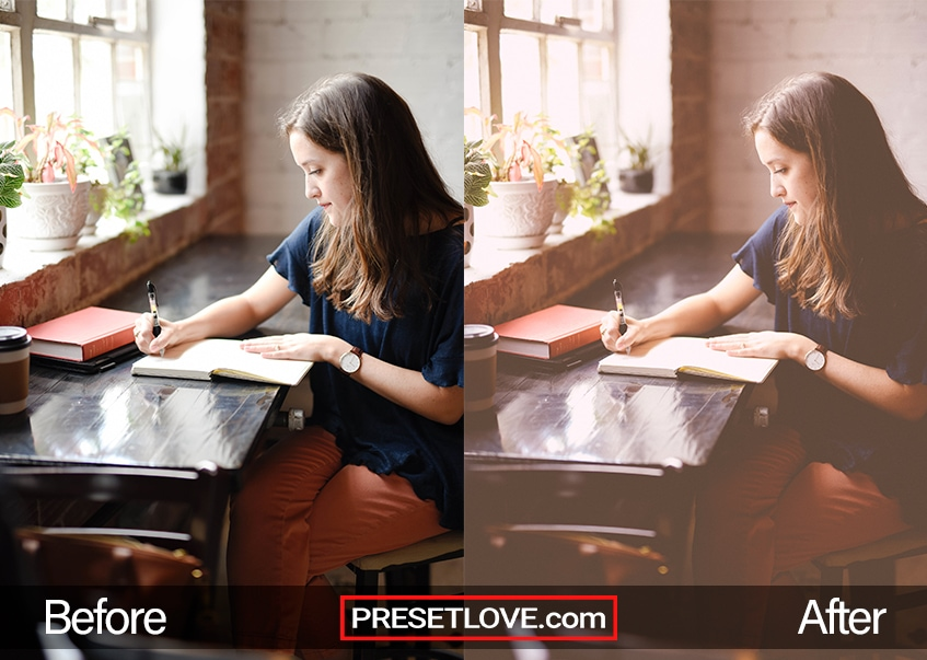 A vintage photo of a girl writing at a desk