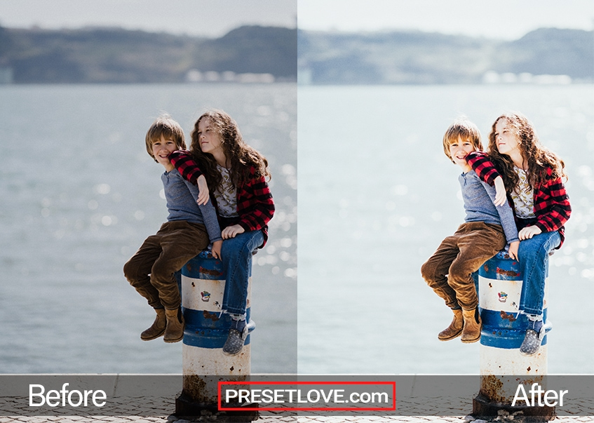 A bright and vibrant photo of two children sitting at the dock