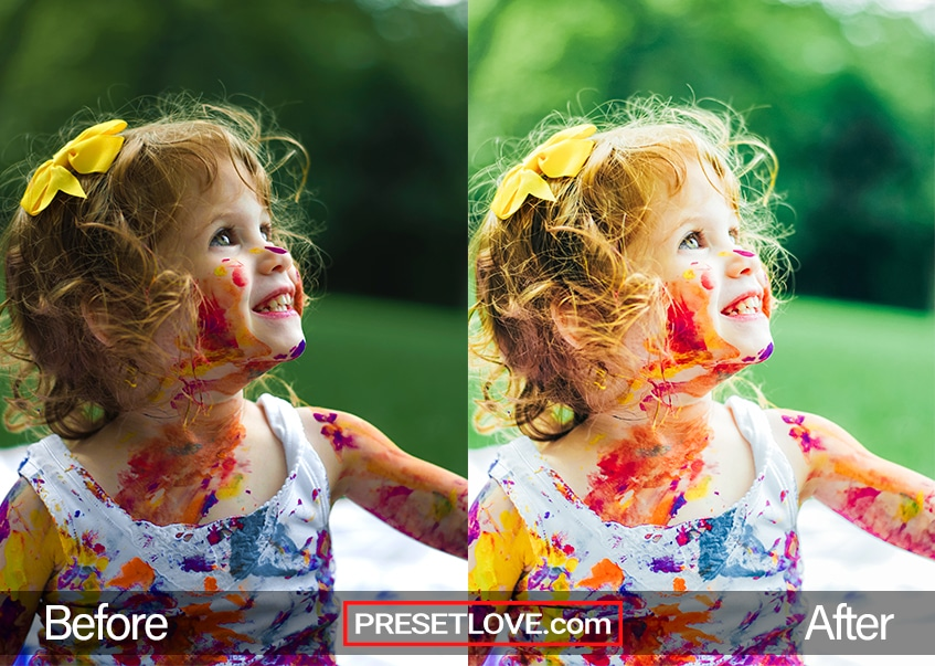 A vibrant and colorful photo of a little girl with paint all over her white dress and face