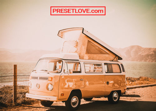 A photo of a vintage Volkswagen van
