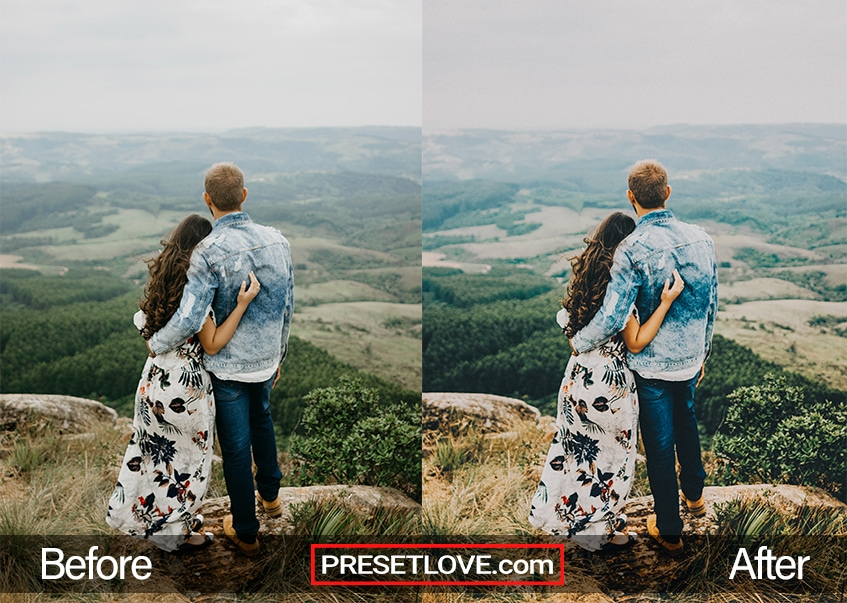 A couple looking out at a vast landscape