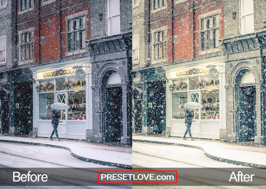 A man strolling along a snowy street