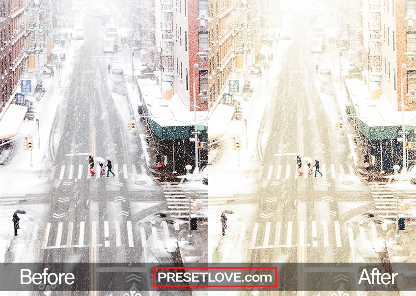 An urban photo of a street in wintertime