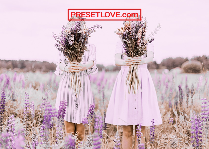 A bright and colorful photo of women holding up lavender flowers