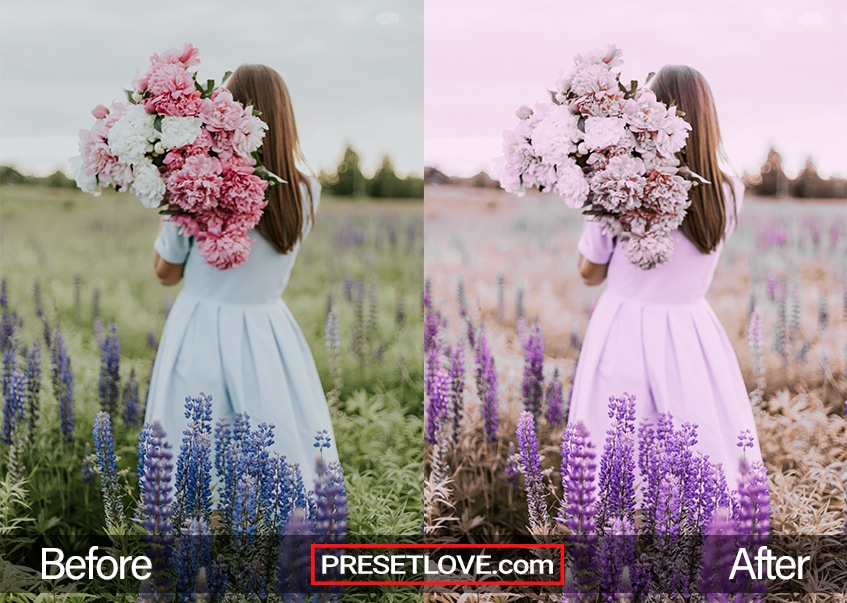 A pastel lavender tinted photo of a woman in a lavender field with a bouquet of flowers over her shoulder