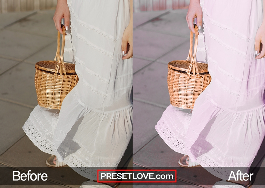 A bright pastel-tinted photo of a woman in a white dress and carrying a woven basket