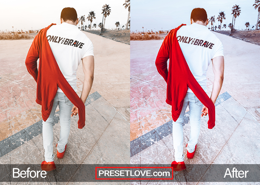 Man walking with a red sweater and a white shirt that says Only The Brave