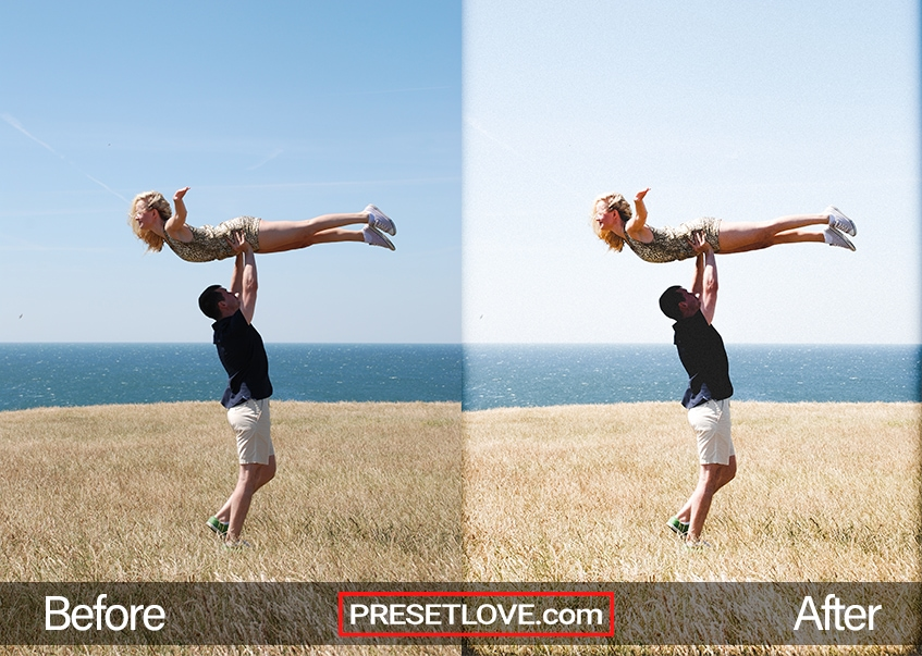 A bright and vivid outdoor photo of a man lifting a woman