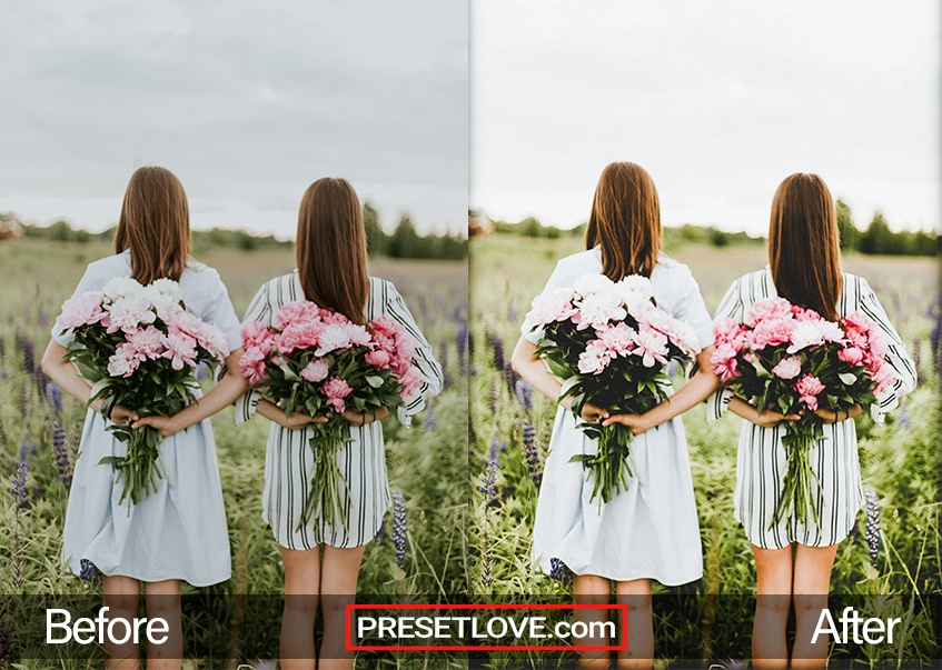 A brightened photo of two women holding flowers at their backs