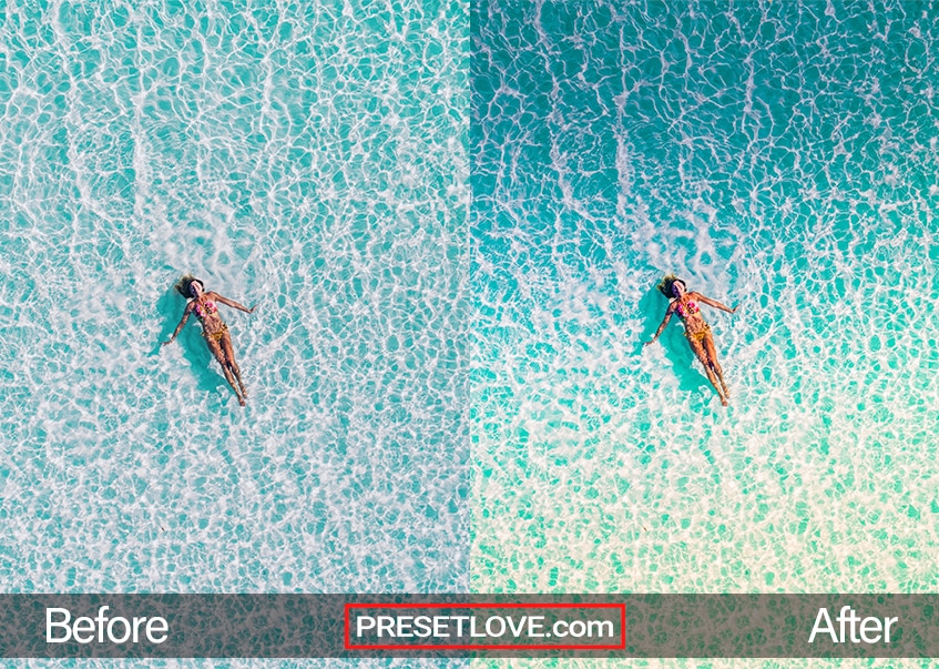 A vibrant aerial photo of a woman floating at the sea