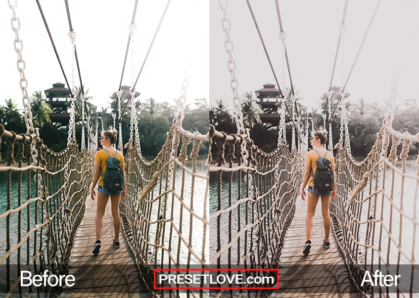 A woman with a backpack crossing a hanging bridge