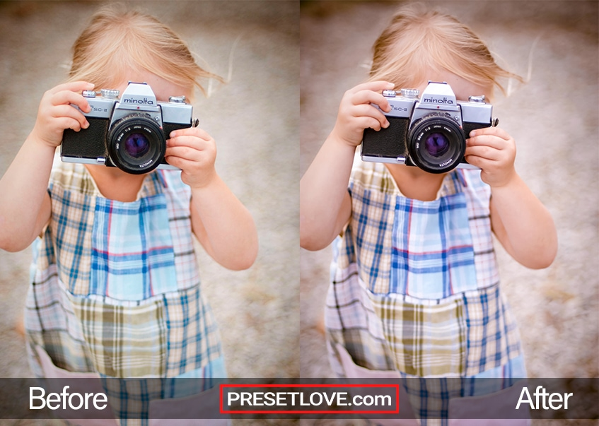 A charming photo of a little girl taking a photo with an analog camera