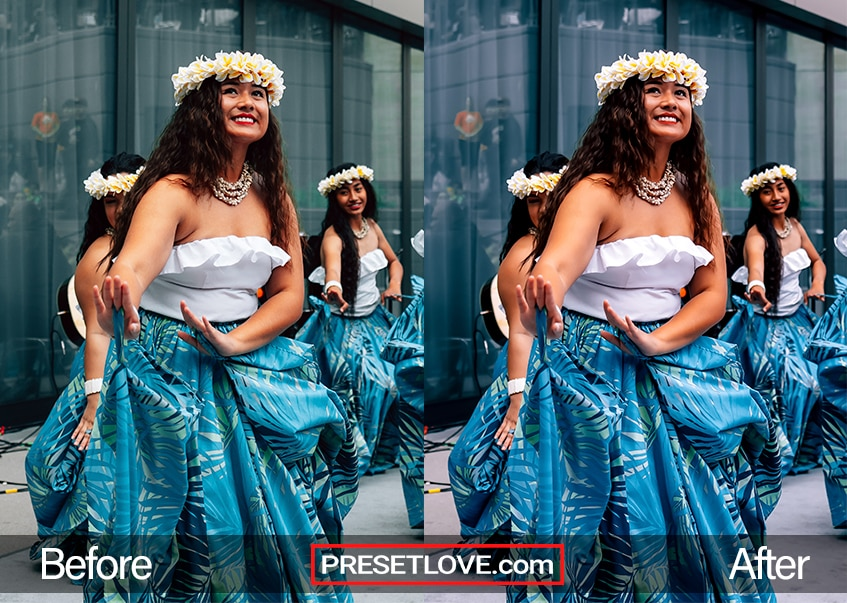 A vibrant photo of a woman in a blue skirt dancing hula