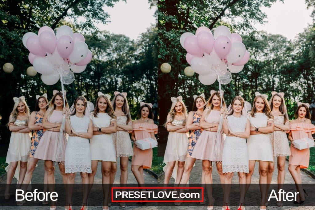 A bright and detailed photo of bridesmaids and balloons
