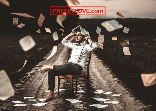 A cinematic photo of a man sitting on a chair while holding an opened book on his head