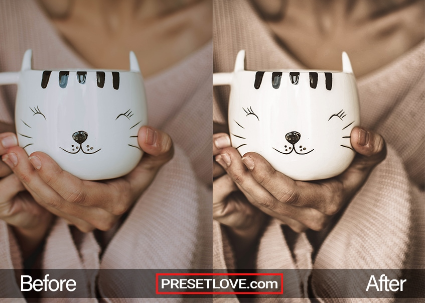 A dark and dramatic photo of a woman holding a cat mug