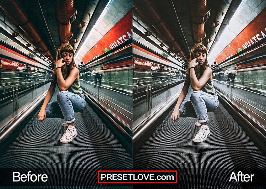 A dramatic urban photo of a woman posing while on a moving walkway