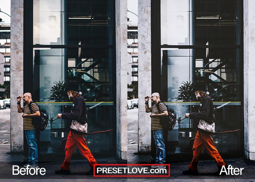 A modern urban photo of two men at the sidewalk