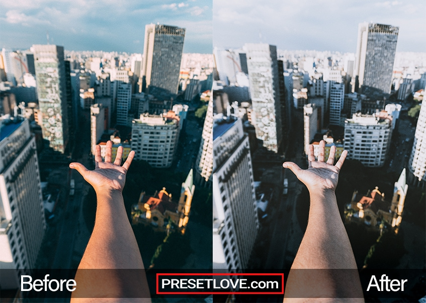 A modern urban photo of a hand outstretched towards a cityscape