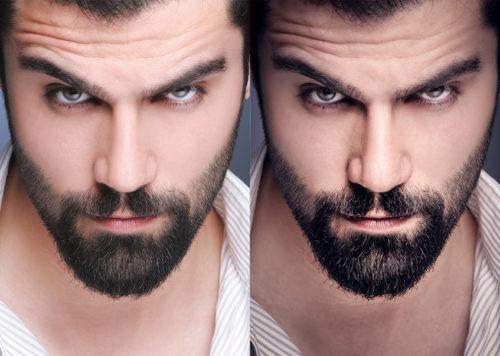 A  sharp closeup headshot of a bearded man