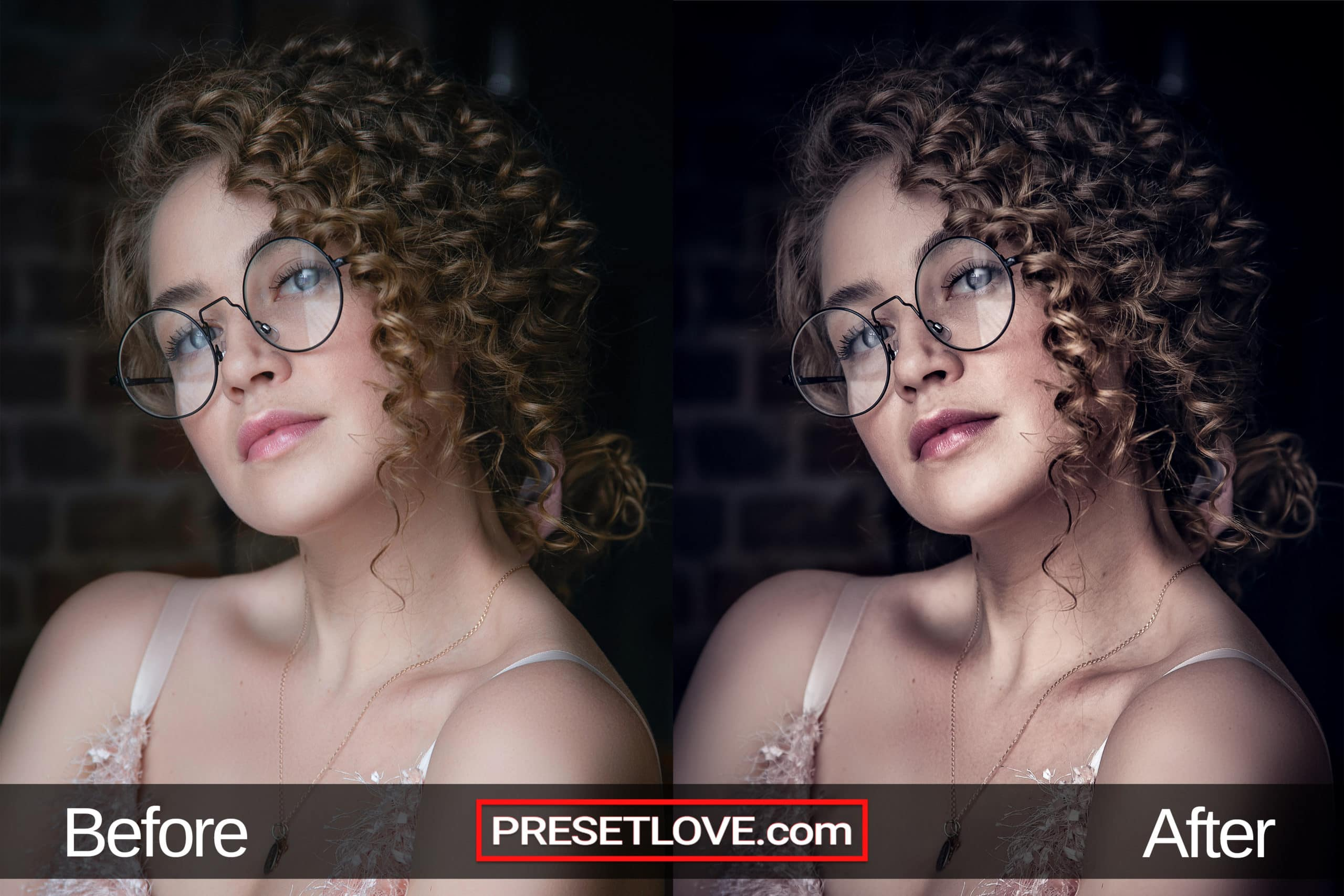 A photo of a woman with curls and eyeglasses that's enhanced by a  dramatic and moody portrait preset