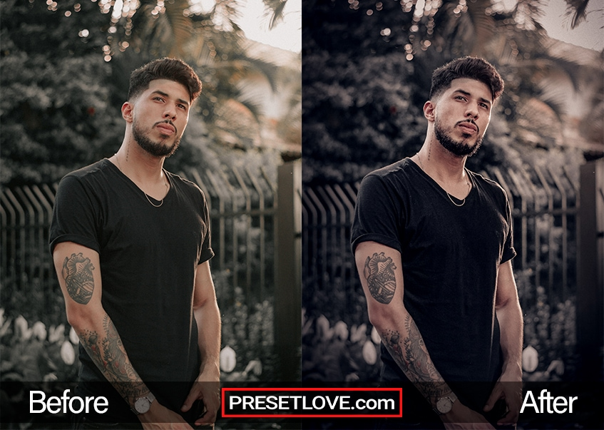 A portrait and fashion preset applied to a man's outdoor photo