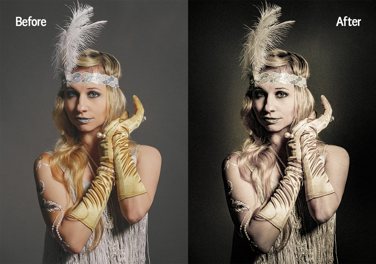 A classic photo of a woman in gatsby attire and a feather headband, with a vintage Lightroom preset applied